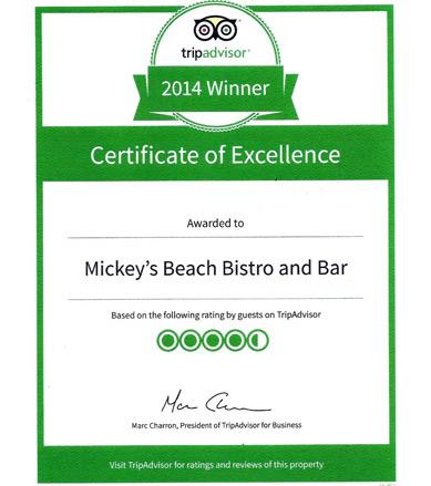 Mickey's Beach Bistro Tripadvisor Award