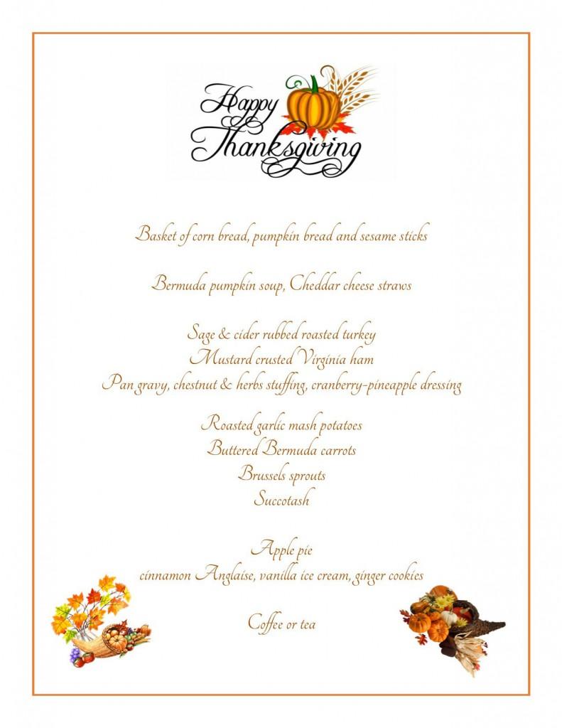 Thanksgiving 2015 Menu